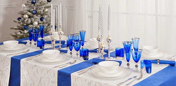 Decoracion de mesas navide as color azul - Decoracion mesa navidena 2014 ...