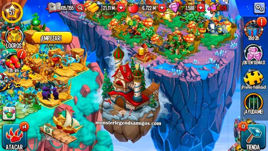 imagen de la isla navidad de monster legends