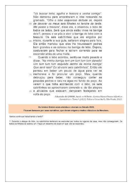 Atividades de Português 4 ano interpretação de texto
