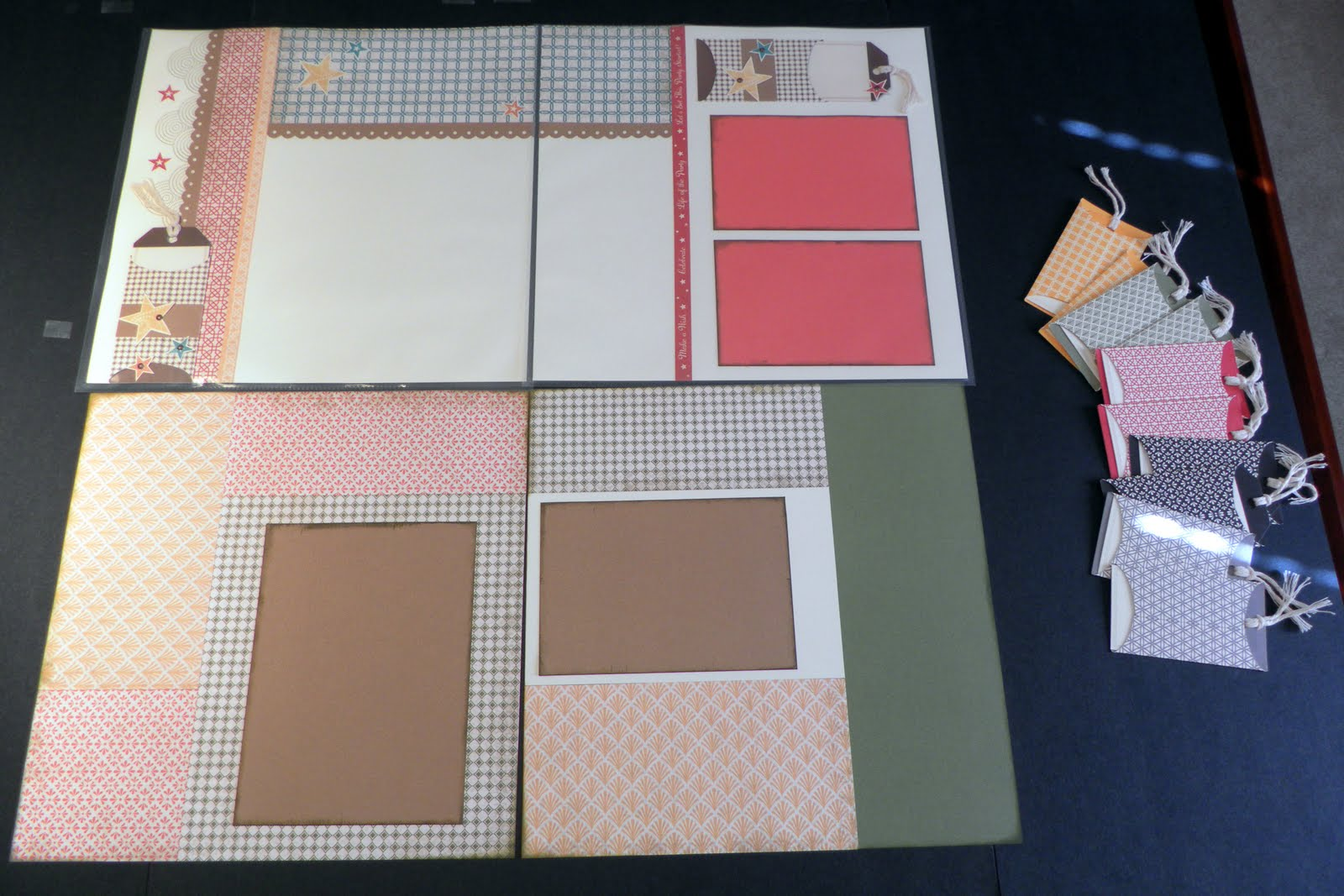 How to make scrapbook creative - This Paper Packet Was Very Hard To Photograph These Are The 4 Pages 2 Two Page Layouts We Will Make At The September Scrapbooking