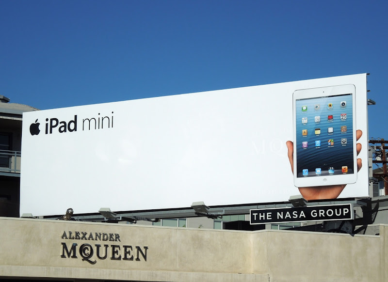 White Apple iPad mini billboard