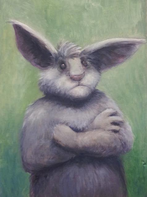 Hasenportrait, oilpainting, rabbit, children's book illustration, Kinderbuchillustration, böser hase
