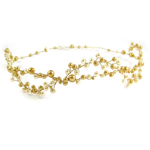 Perły na ślubie - wianek złoto i ecru