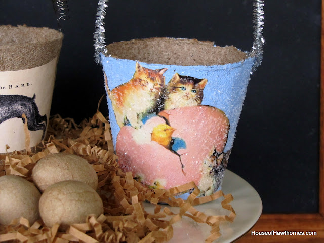 Super cute DIY decorative peat pot Easter baskets