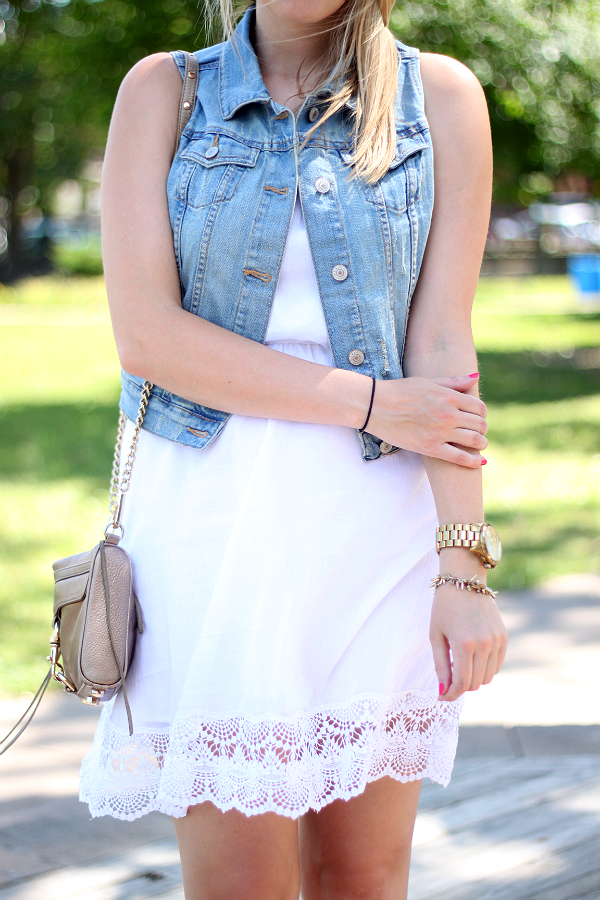 White Summer Dress & Denim Vest (Old Navy)