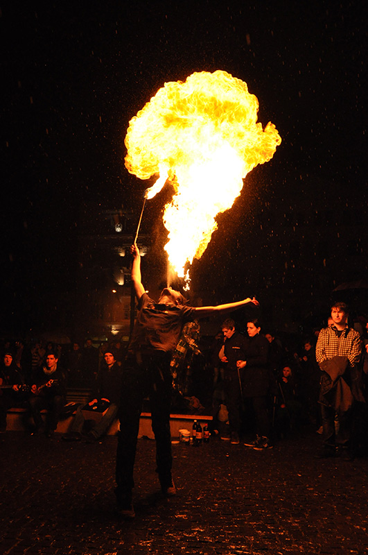 Fire juggler at the Earth hour 2012 in Cluj-Napoca