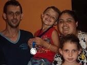 Meu marido, meu afilhado, minha filha e eu.