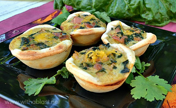 Bacon and Spinach mini Quiches ~ Serve these scrumptious little treats with a glass of wine, as an appetizer or as part of your party treats. Bacon, Spinach and Cheddar make these Mini Quiches a winner every time !