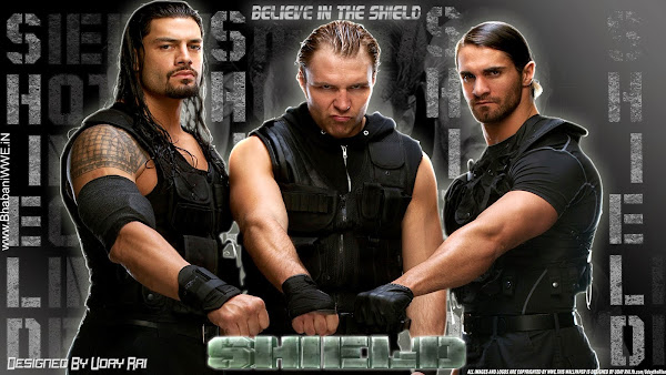"Download The Shield ""The Hounds Of Justice"" HQ Wallpaper (Designed By Uday Rai Via iPOST), 2013, shield wallpaper, 2012, seth rollins, roman reigns, dean ambrose"