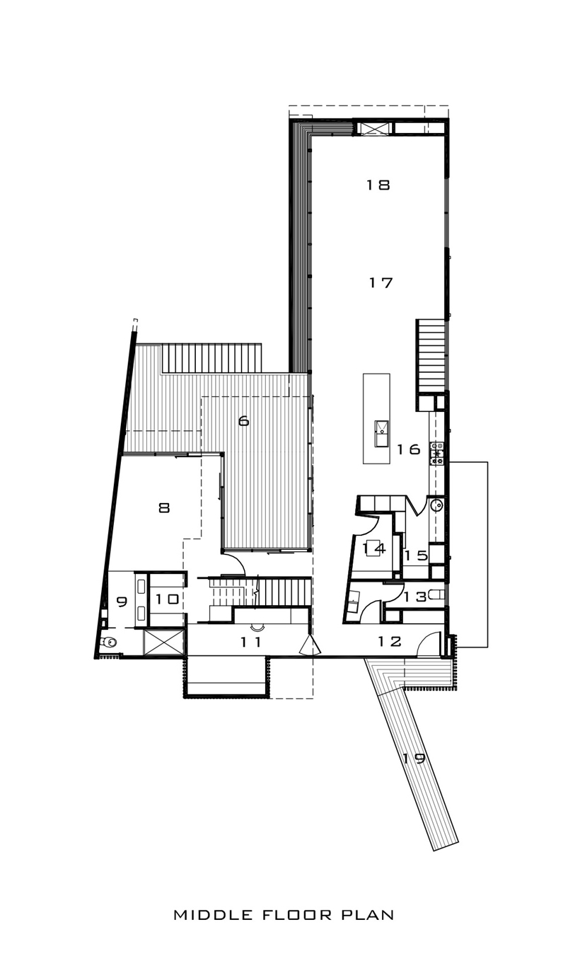 Middle floor plan of Kew House by Vibe Design Group