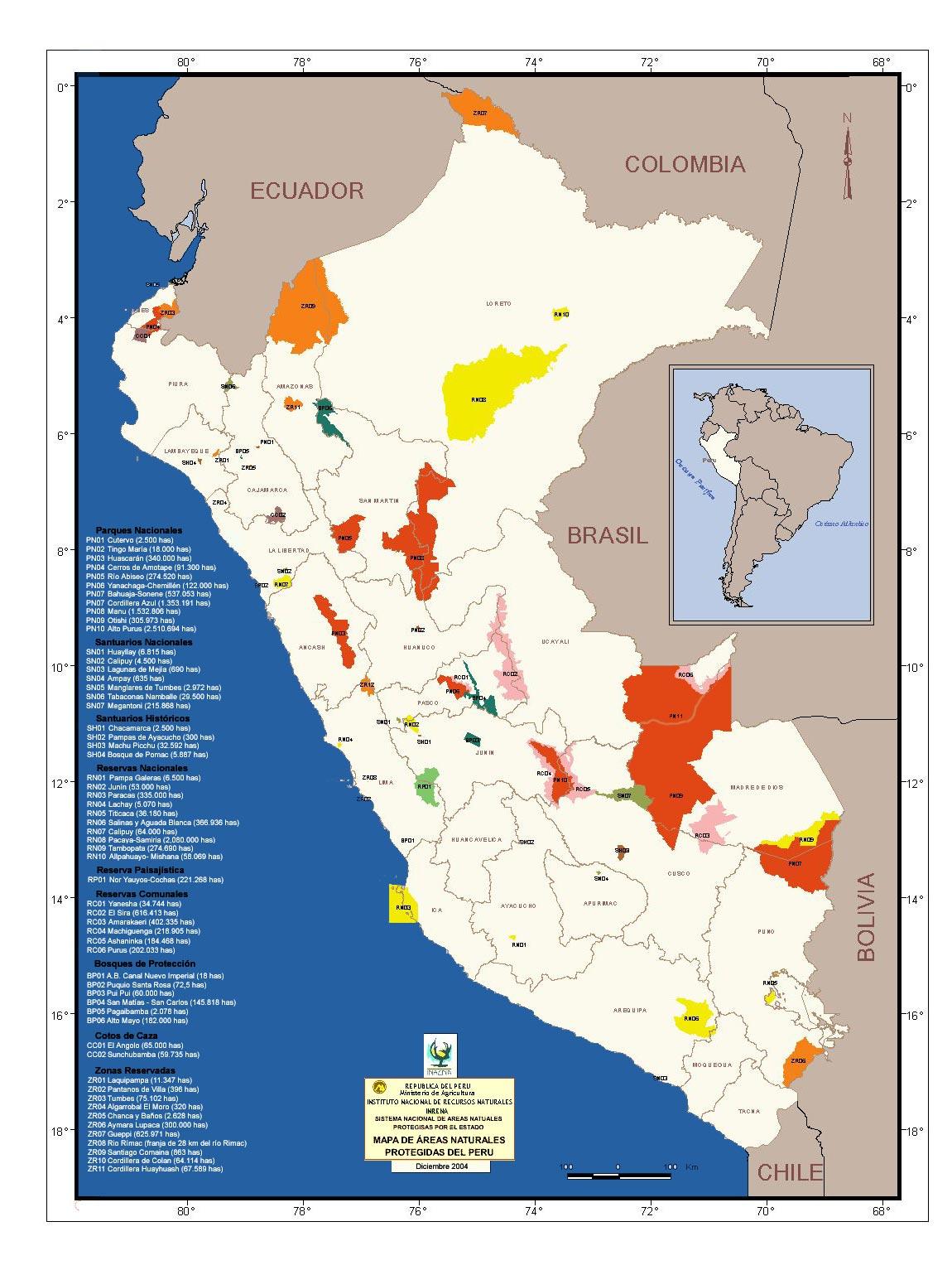 áreas naturales protegidas en el perú existen 62 áreas naturales