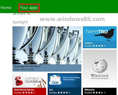 Windows 8 Mağaza yüklü uygulamalar