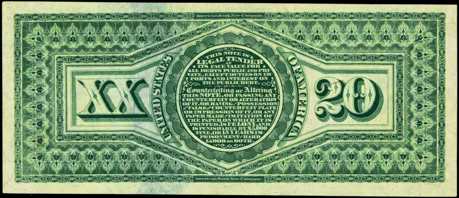 1869 20 Dollar bill Legal Tender Note Rainbow