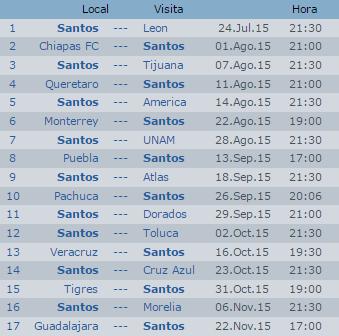 Calendario del Santos Torreon Apertura 2015 Futbol Mexicano