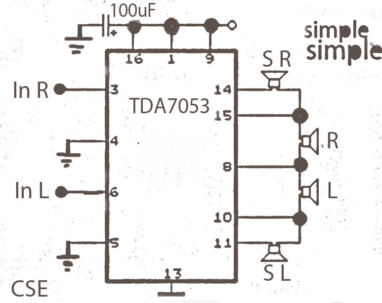 Simple surround audio amplifier circuit based on the ic tda7053 simple surround audio amplifier circuit based on the ic tda7053 circuit diagram asfbconference2016 Image collections