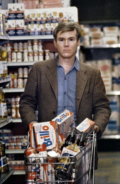A young Andy Warhol shopping for Campbell's soup - 1965