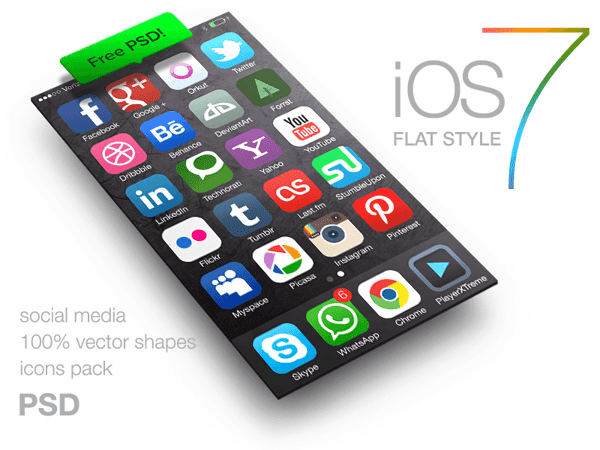 iOS 7 style icons of social media FREE PSD