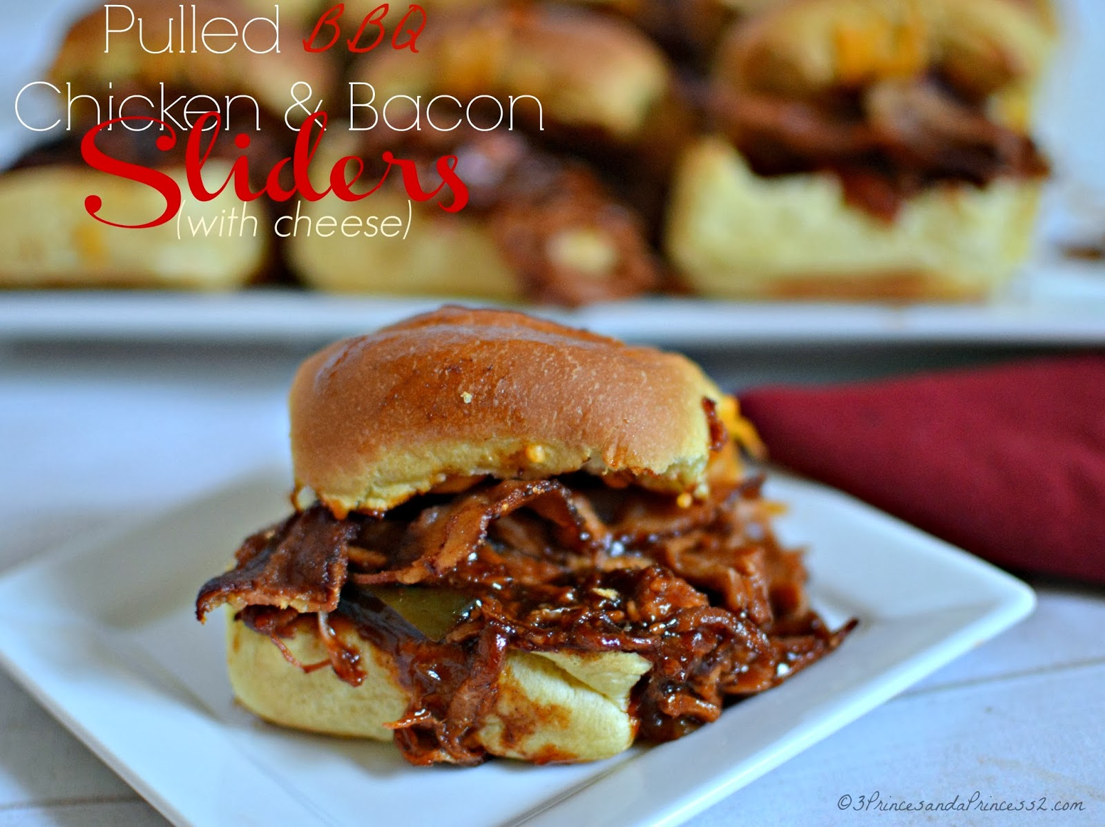 Pulled BBQ Chicken with Bacon Sliders #Recipe