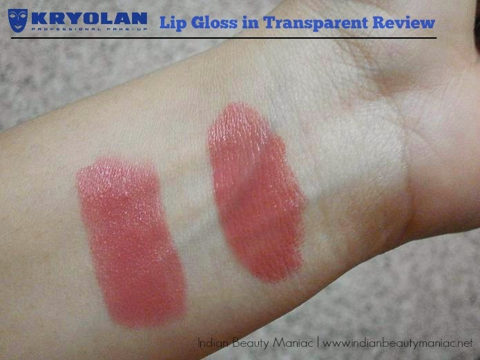 Kryolan Lip Gloss in Transparent swatch on top of a matte lipstick