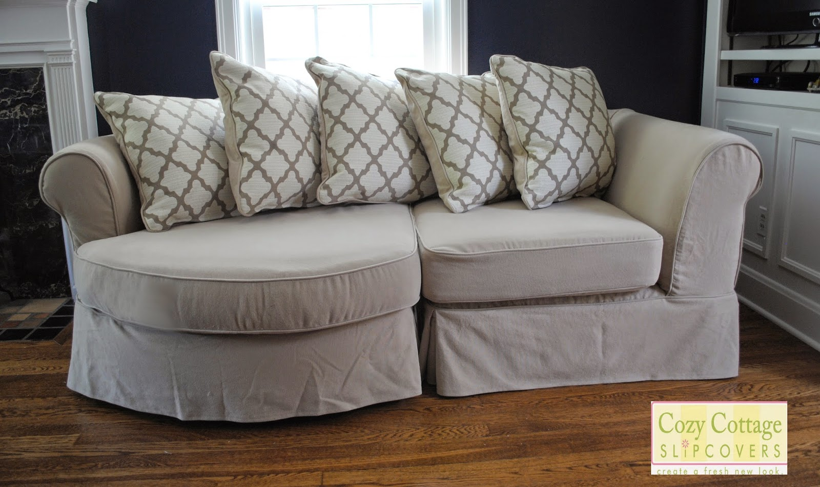Cozy cottage slipcovers new office chair slipcovers - My Customer Can Have A Whole New Look By Turning Over The Pillows To Match The Body Of The Slipcover She Can Also Choose To Mix Things Up And Turn Over A