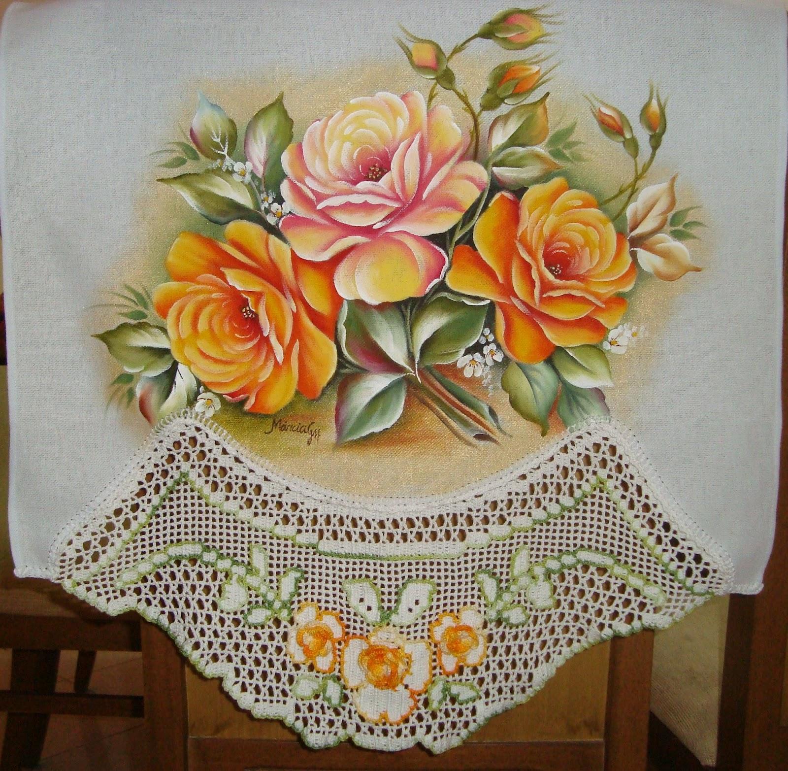 Pano de copa,Pintura em Tecido e Croche,Rosas