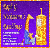 Raph G. Neckmann's Ramblings - the blog of Raph the giraffe who is painted on my side!!