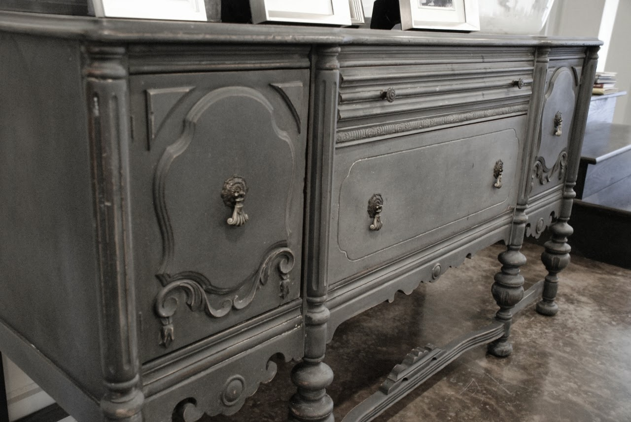 Antique buffet painted in a driftwood gray chalk paint