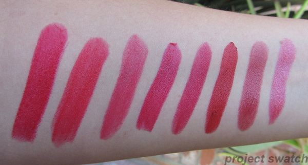 Swatches: WnW Stoplight Red, WnW Red Velvet, WnW Hot Red, WnW Cherry Frost, WnW Cinnamon,  NYC Retro Red, NYC Sheer Red, NYC Ruby