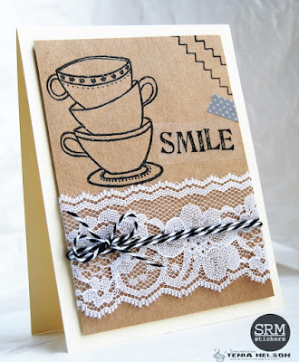 SRM Stickers Blog - Smile by Tenia - #card #clearstamps #janesdoodles #teatime #lace #twine #stickers