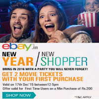Ebay India first purchase above Rs. 200 to Get 2 Free Movie Tickets : BuyToEarn