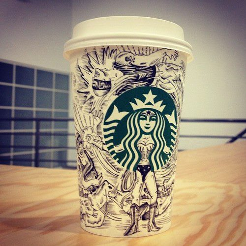 Starbucks coffee cup art