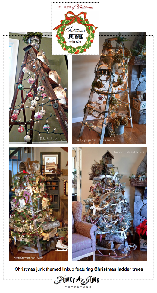 Christmas JUNK Decor, a themed linkup, featuring ladder Christmas trees, via Funky Junk Interiors and 12 Days of Christmas