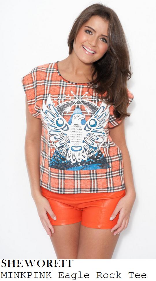 ferne-mccann-orange-blue-and-white-check-tartan-and-eagle-bird-print-short-sleeve-oversized-t-shirt