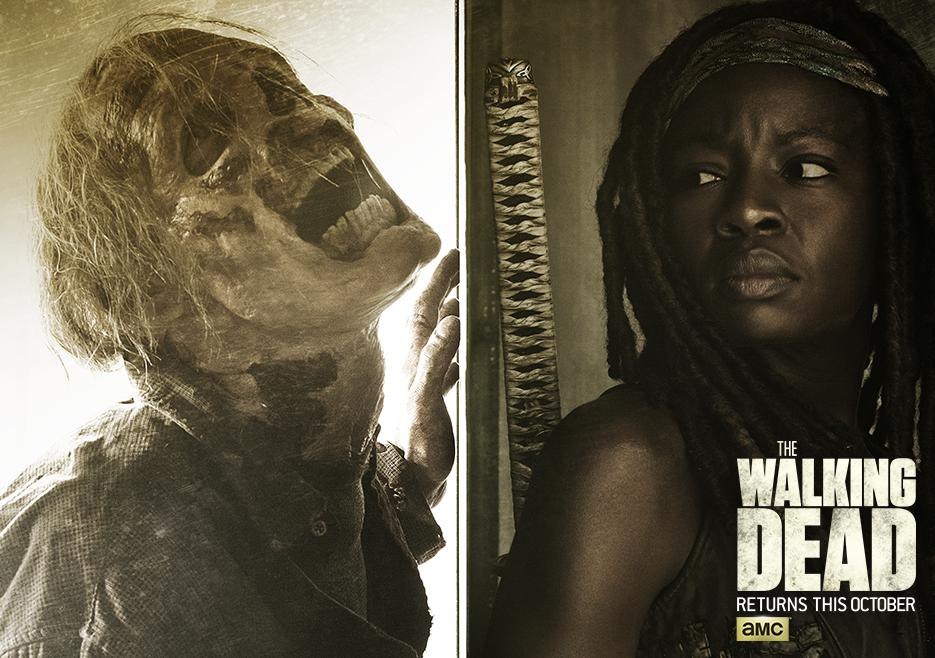 "Novos pôsteres para a 6ª temporada de ""The Walking Dead"" com Michonne, Rick, Daryl e Morgan"
