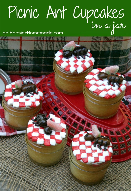 http://hoosierhomemade.com/picnic-ant-cupcakes-in-a-jar/