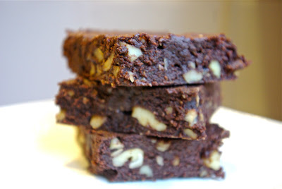 3 stacked paleo and primal brownies made with coconut flour