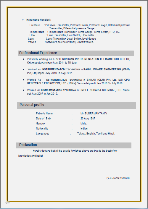 iti fitter resume format