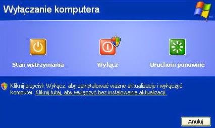 Wyłączenie komputera Windows XP. Po aktualizacjach Windows Update sugeruje zamknięcie sytsemu w celu dokończenia instalacji aktualizacji, ale pozostawia też inne możliwości zakończenia pracy PC