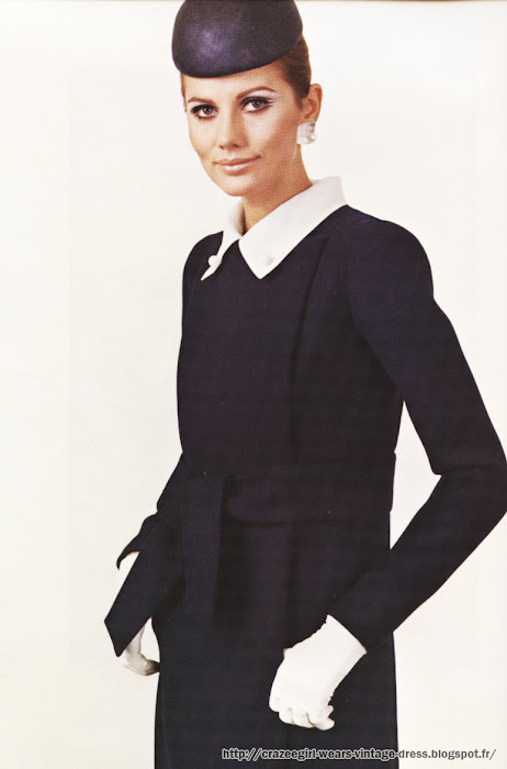 Black and white coatdress - coat dress Jean Patou   1967