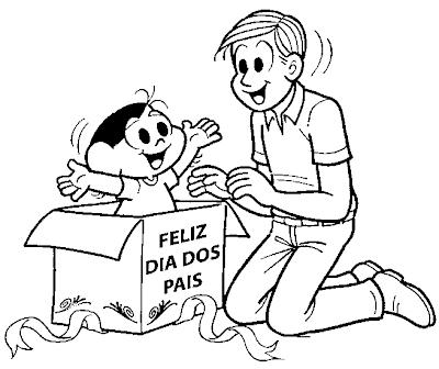 Desenho dia dos pais colorir - Turma da Mônica