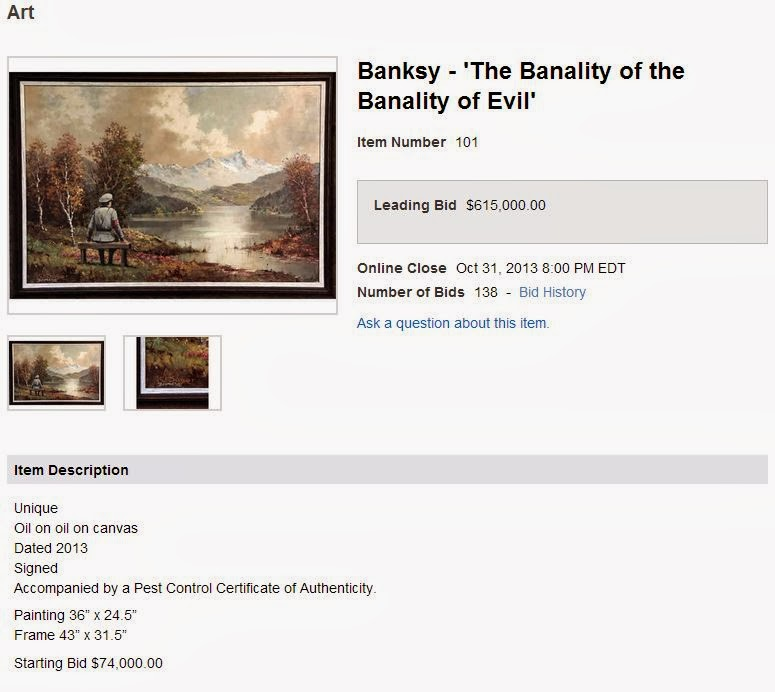 an analysis of banksys painting the banality of the banality of evil