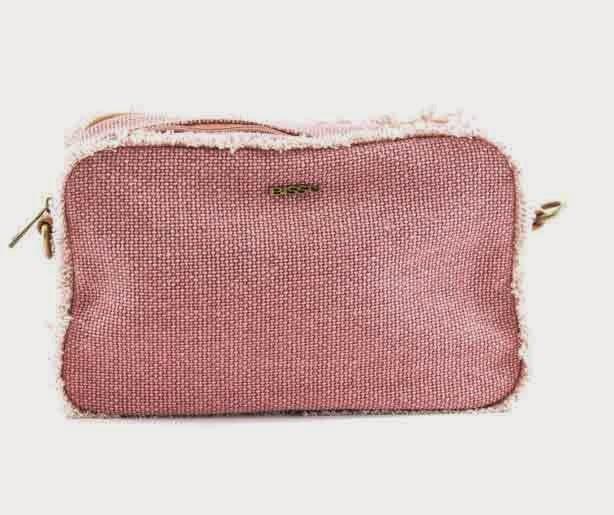 cartera de tela vaquera rosa