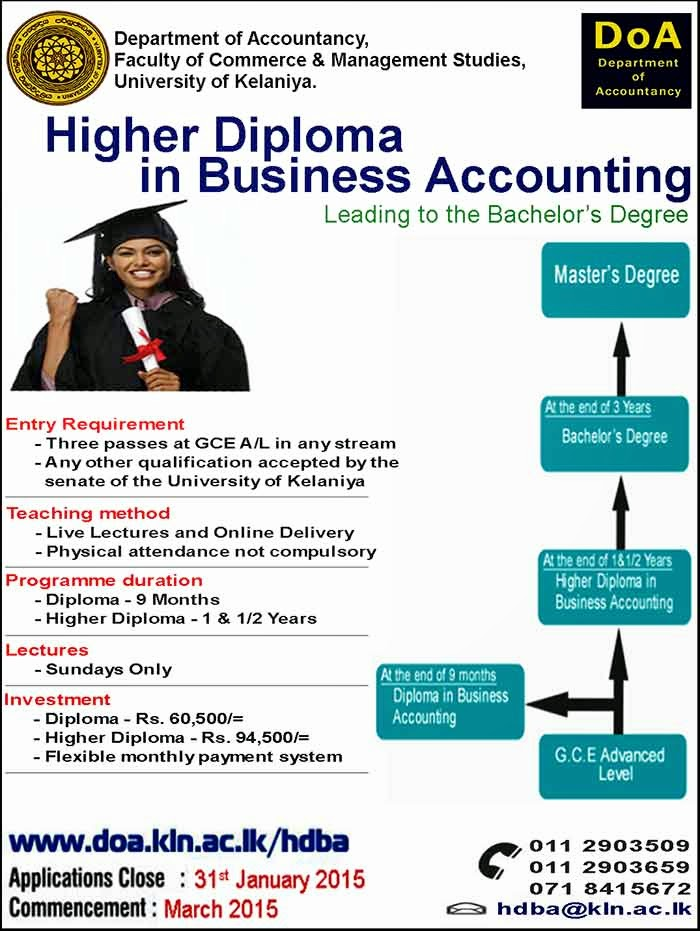 Higher Dip. in Bus. Accounting leading to Bachelor's Degree - Online.