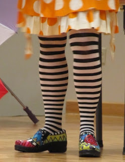 photo of: Debbie Clement's happy shoes and socks