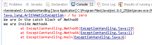 Catch Exception in Java