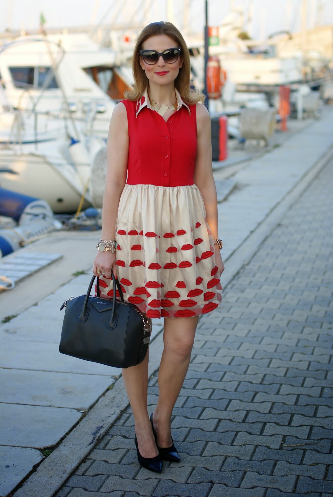 Choies red lips dress, NAU! sunglasses, Nando Muzi shoes, Fashion and Cookies, fashion blogger