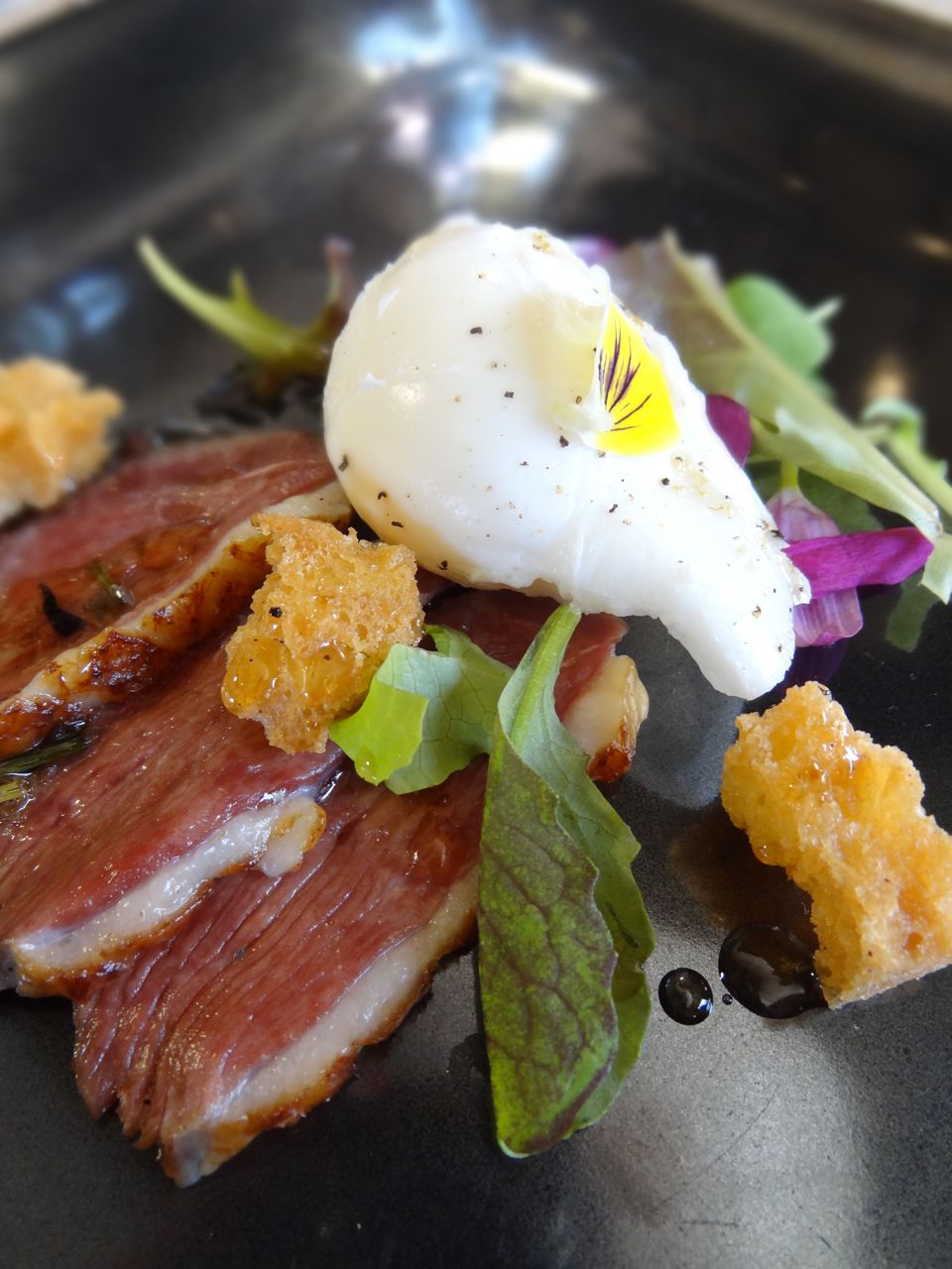 Poached Duck Egg with Summer Smoked Duck Breast & Wild Flower Honey