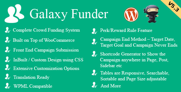 Galaxy Funder v5.7 – WooCommerce Crowdfunding System