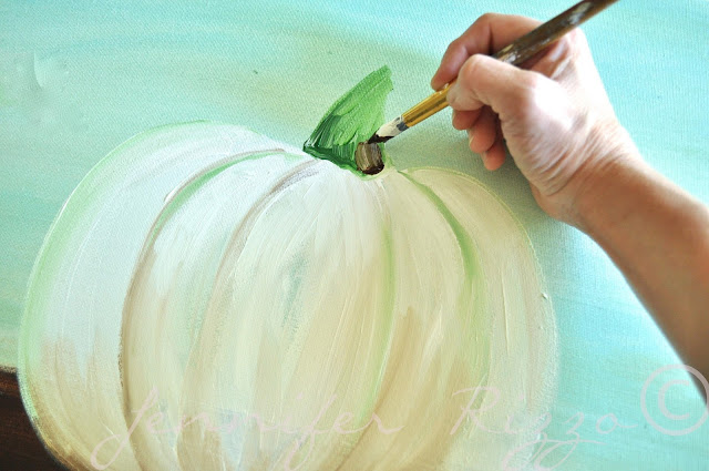 How to paint a pumpkin canvas, art skills not required!!!shading the stem