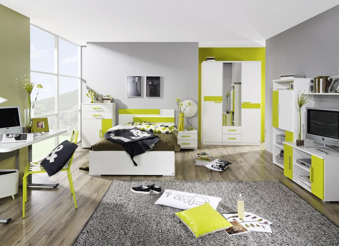 Dormitorios para j venes en color verde y gris - Dormitorio en blanco y negro ...